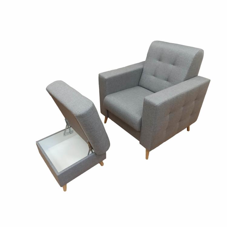 Fotel szymon do salonu z podnóżkiem otwarty